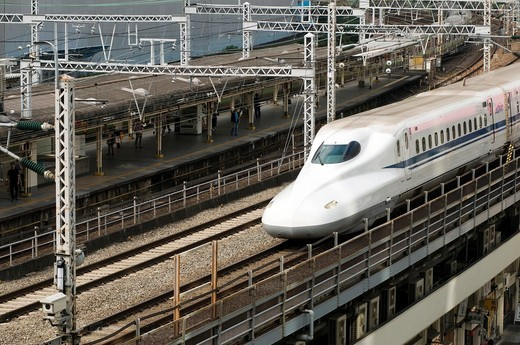 The Shinkansen train in Tokyo Japan : Stock Photo
