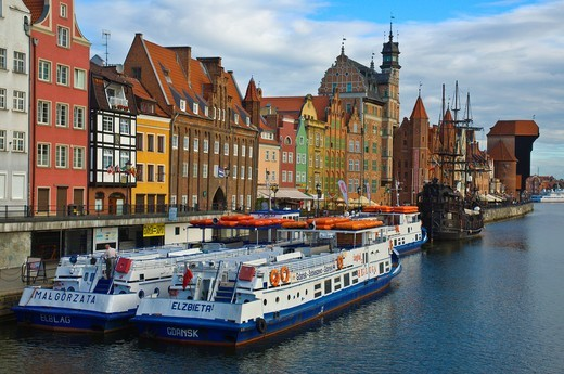 Ferries to Gdynia and Sopot at Motlawa riverside central Gdansk Warsaw Poland Europe : Stock Photo