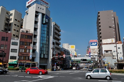 Osaka (Japan): streets cross in Ebisu : Stock Photo
