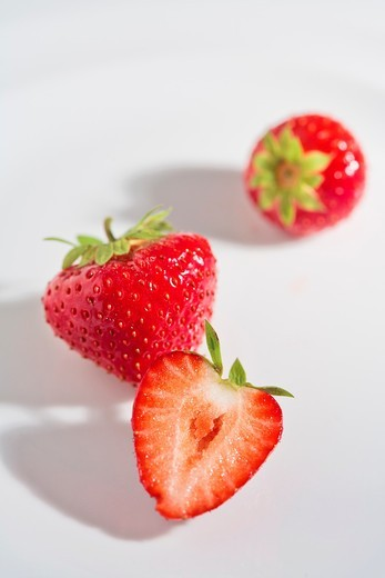 Close up of three strawberries : Stock Photo