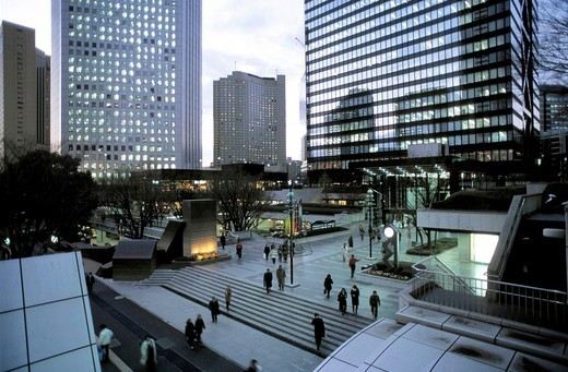Japan, Tokyo, Shinjuku, skyscrapers district street scene : Stock Photo