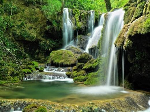Stock Photo: 1566-941233 Waterfall, Andoin, Araba, Basque Country, Spain