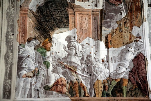 Frescoes by Andrea Mantegna in Chiesa Degli Eremitani in Padua have been reconstructed after damage during World War II, Veneto, Italy : Stock Photo