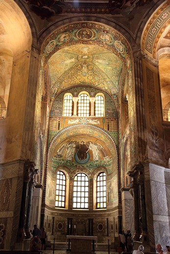 Mosaics on the wall and domed roof of Basilica di San Vitale in Ravenna, Emilia-Romagna, Italy : Stock Photo