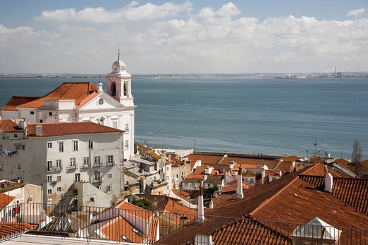 Stock Photo: 1566-942785 View of Lisbon from Santa Luzia viewpoint, with Santo Estevao church on the left