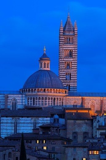 Stock Photo: 1566-942864 Duomo cathedral at dusk, Siena, UNESCO World Heritage Site, Tuscany, Italy