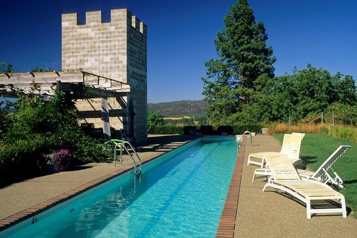 Pool at Fitzpatrick Winery & Lodge, Fair Play, near Mt  Aukum El Dorado County, California : Stock Photo