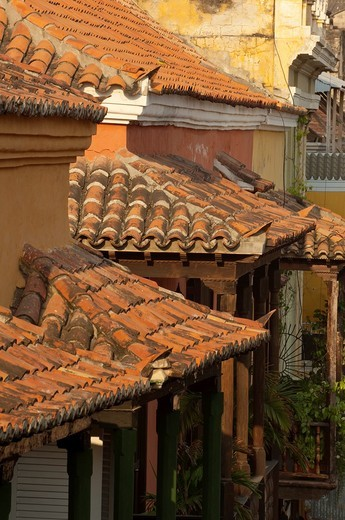 Stock Photo: 1566-943318 Tile roofs, Cartagena de Indias, Bolivar Department,, Colombia, South America