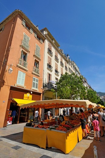 Farmers Market Display Open Air Toulon France French Riviera Mediterranean Europe Harbor : Stock Photo