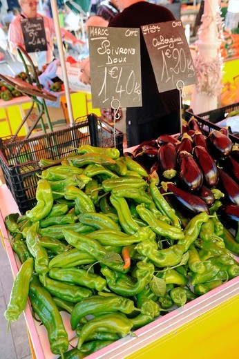 Hot Peppers Display Market Toulon France French Riviera Mediterranean Europe Harbor : Stock Photo