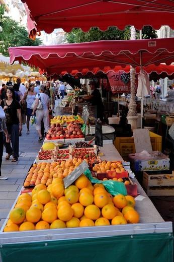 Oranges Display Market Toulon France French Riviera Mediterranean Europe Harbor : Stock Photo
