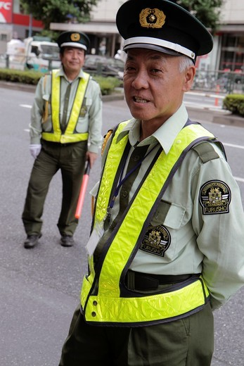Stock Photo: 1566-944264 Japan, Tokyo, Shinjuku, traffic guard, security, uniform, Asian, man, men,