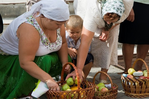 Ukraine, Borispol, church of sveti Boris and Gleb, donation for the blessing. : Stock Photo