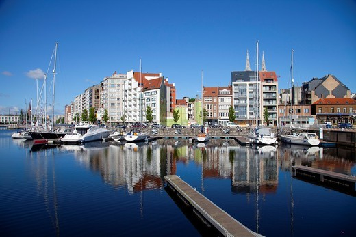 Ostend Harbour, Western Flanders, Belgium, Europe : Stock Photo