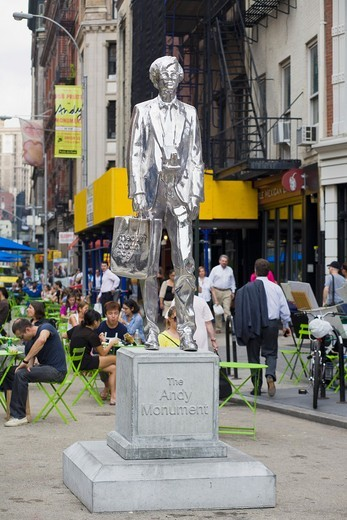 Stock Photo: 1566-945446 New York City, Union Square, statue of Andy Warhol
