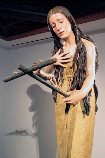 Mary Magdalene Penitent by Pedro de Mena 1660s, National Sculpture Museum, Valladolid, Castile and Leon, Spain : Stock Photo