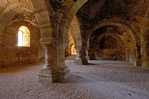 Ruins of Santa Maria de Moreruela Cistercian monastery (12th century), Granja de Moreruela, Zamora province, Castilla-Leon, Spain : Stock Photo