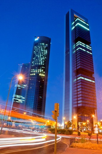 Stock Photo: 1566-946548 Cuatro Torres Business Area, night view. Madrid, Spain.
