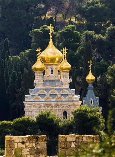 Stock Photo: 1566-947441 The Russian Orthodox church of Maria Magdalene in Jerusalem.
