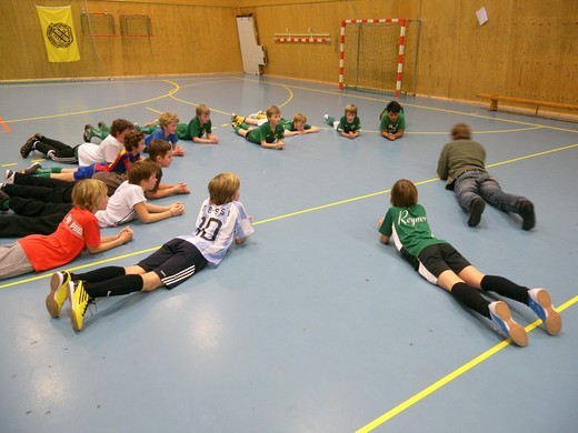 Soccer practive for 10 year olds, Stockholm, Sweden : Stock Photo