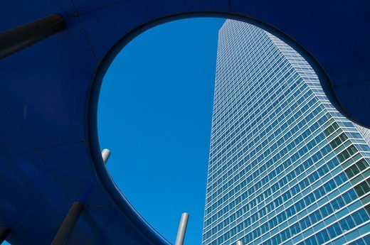 Cristal Tower, view from below. Madrid, Spain. : Stock Photo