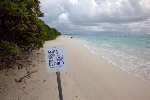 Restricted area, Midway Atoll National Wildlife Refuge, Sand Island, Hawaii, USA : Stock Photo