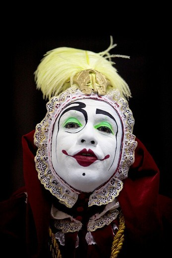 A buffoon clown poses at the 16th International Clown Convention: The Laughter Fair organized by the Latino Clown Brotherhood, in Mexico City, October 20, 2011 : Stock Photo