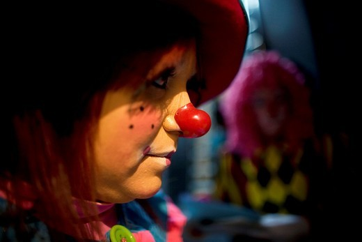 A female clown attends the 16th International Clown Convention: The Laughter Fair organized by the Latino Clown Broterhood, in Mexico City, October 17, 2011 : Stock Photo