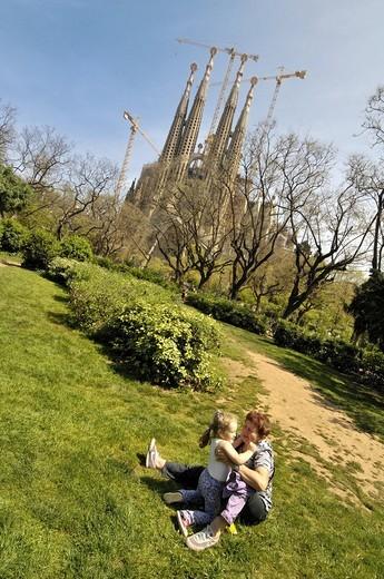 Sagrada Familia square, Barcelona, Catalonia, Spain. : Stock Photo