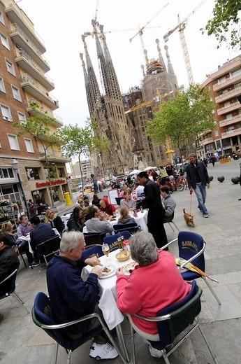 Gaudi avenue with the background of Sagrada Familia Temple, Barcelona, Catalonia, Spain. : Stock Photo