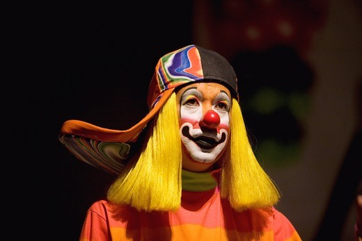 Stock Photo: 1566-949577 A clown attend the 16th International Clown Convention: The Laughter Fair organized by the Latino Clown Brotherhood, in Mexico City, October 17, 2011