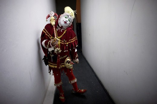 Stock Photo: 1566-949589 A buffoon clown poses at the 16th International Clown Convention: The Laughter Fair organized by the Latino Clown Brotherhood, in Mexico City, October 20, 2011