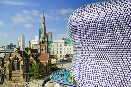 selfridges building, bull ring shopping mall with St Martins church, Birmingham, West Midlands, England : Stock Photo