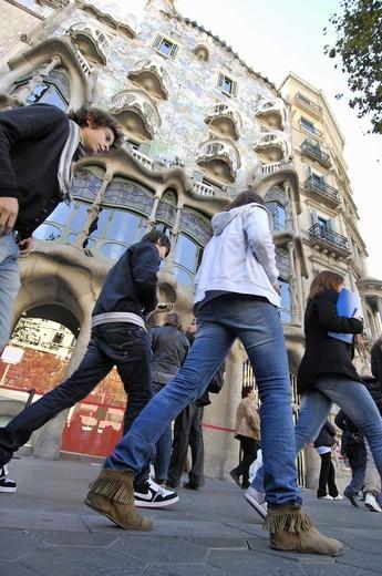 Stock Photo: 1566-949788 Casa Batllo by Antoni Gaudi, Barcelona. Catalonia, Spain.