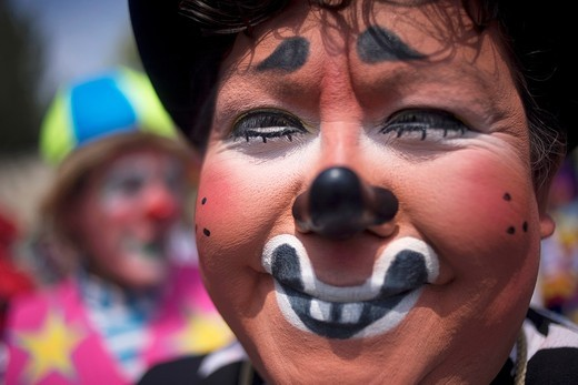 Stock Photo: 1566-950323 A clown smiles during the 16th International Clown Convention: The Laughter Fair organized by the Latino Clown Brotherhood, in Mexico City, October 17, 2011