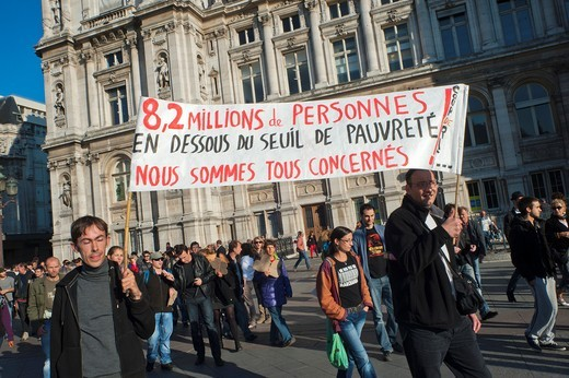 Paris, France, Occupy France, Indignants, Demonstration, French Poor People Marching with Banner : Stock Photo