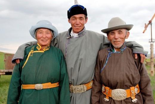 Nomadic family installed around Binder, Hentii district, Mongolia. Mongolia, Hentii district, homeland of Genghis Khan, nomadic family installed around Binder : Stock Photo