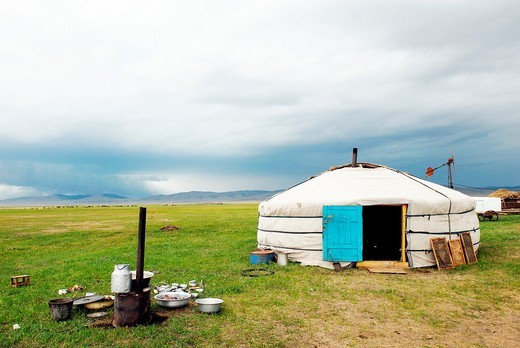 Nomadic family installed around Binder, Hentii district, Mongolia. Mongolia, Hentii district, homeland of Genghis Khan, nomadic family installed around Binder : Stock Photo