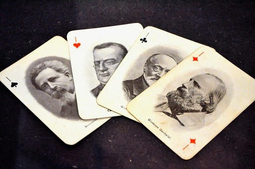 Bologna (Italy): playing cards with the leaders of Italian independence, at an exhibition at Palazzo Fava : Stock Photo