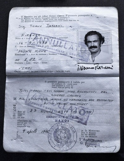 Stock Photo: 1566-952006 Bologna (Italy): Tiziano Terzani's passport, at an exhibition dedicated to the famous journalist and writer at Palazzo Fava