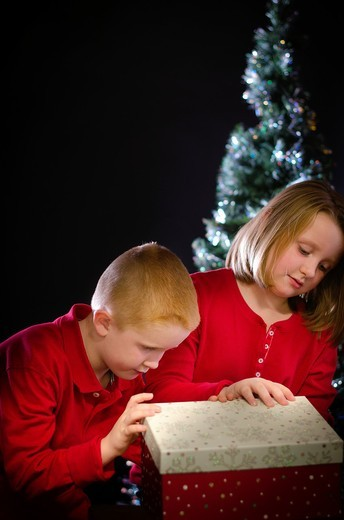 Stock Photo: 1566-952340 Two children curiously opening a Christmas gift