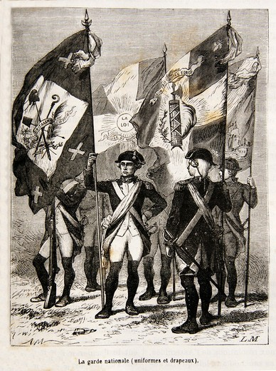 Uniforms and flags of the Garde Nationale, French Revolution, France (18th century) : Stock Photo