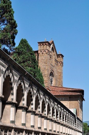 Firenze (Italy): arches along the Basilica of Santa Maria Novella's walls : Stock Photo