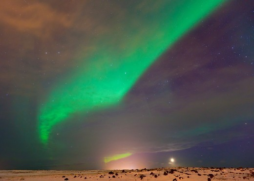 Northern Lights, Southern Iceland, Iceland, Europe : Stock Photo