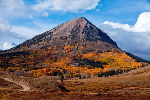 Stock Photo: 1566-953958 Gothic Mountain is visible from Washington Gulch Road near Crested Butte, Colorado