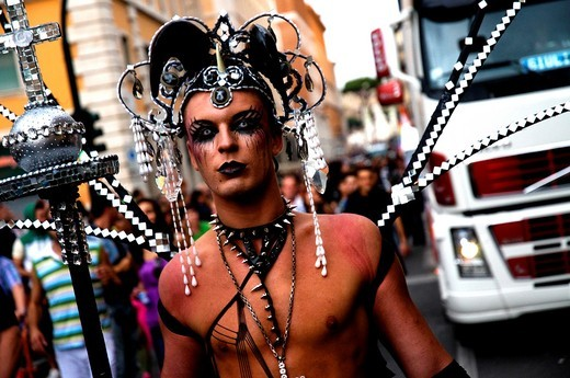 Man participant in the Rome´s Gay Pride : Stock Photo