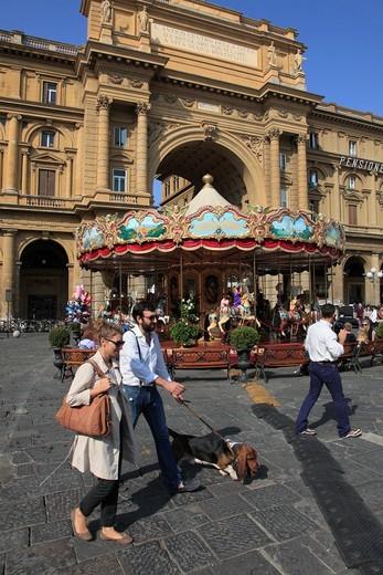 Italy, Tuscany, Florence, Piazza della Repubblica, : Stock Photo