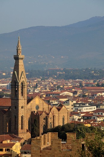 Italy, Tuscany, Florence, Basilica Santa Croce : Stock Photo