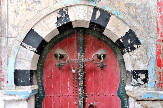 Africa, Tunisia, Nabeul  Locked old but beautifully decorated front door in the centre of Nabeul : Stock Photo