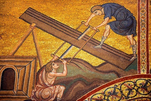 Stock Photo: 1566-956702 Byzantine mosaics in the Cathedral of Monreale - Cutting wood to build Noah´s Arc- Palermo - Sicily